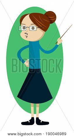 Vector illustration with woman teacher character with a pointer