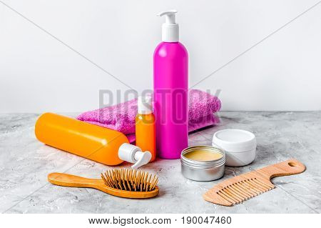cosmetics for women hair care and spa in bathroom.