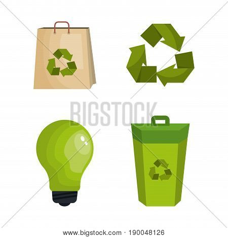 Colorful eco friendly icons over white background vector illustraition