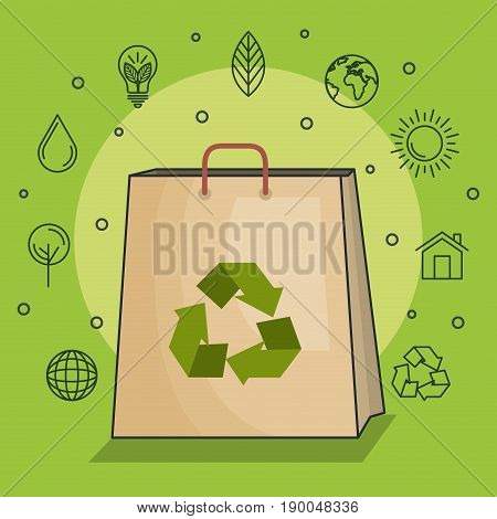 Light bulb with arrow recycle symbol  and hand drawn ecofriendly icons over green background vector illustration