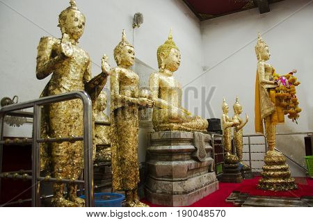 Luang Pho Ban Laem Buddha Statue For Thai People Respect Praying And Gild Cover With Gold Leaf