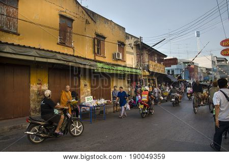 Traffic Road And People Walk On Street At Classic Old Town Near Mae Klong Railway Station And Talat
