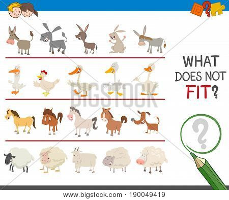 Cartoon Illustration of Finding Picture that does not Fit in a Row Activity Game for Children