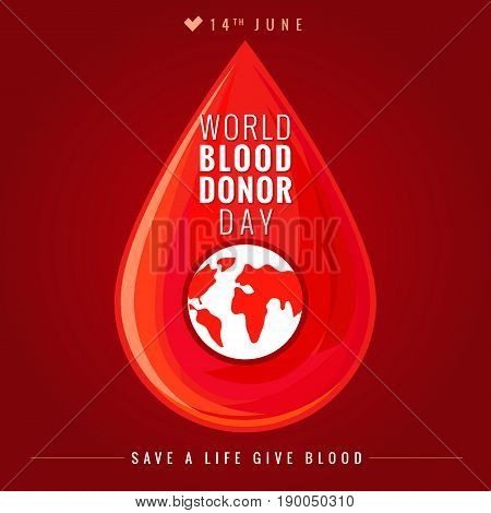 World blood donor day red banner. Illustration of Donate blood concept with abstract vector blood drop for World blood donor day June 14
