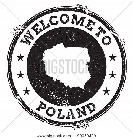 Vintage Passport Welcome Stamp With Poland Map. Grunge Rubber Stamp With Welcome To Poland Text, Vec