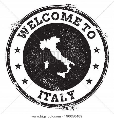 Vintage Passport Welcome Stamp With Italy Map. Grunge Rubber Stamp With Welcome To Italy Text, Vecto