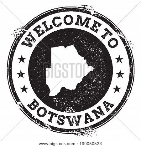 Vintage Passport Welcome Stamp With Botswana Map. Grunge Rubber Stamp With Welcome To Botswana Text,