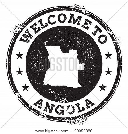 Vintage Passport Welcome Stamp With Angola Map. Grunge Rubber Stamp With Welcome To Angola Text, Vec