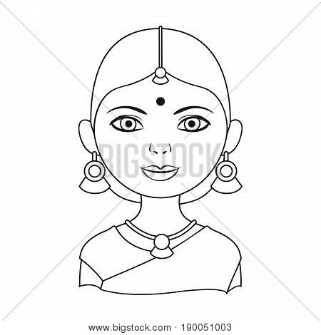 Hindu woman.Human race single icon in outline style vector symbol stock illustration .