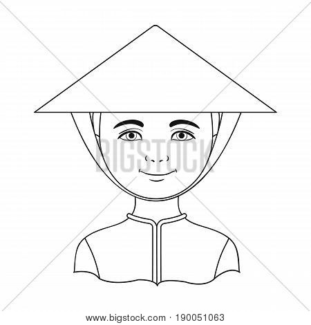 Vietnamese.Human race single icon in outline style vector symbol stock illustration .