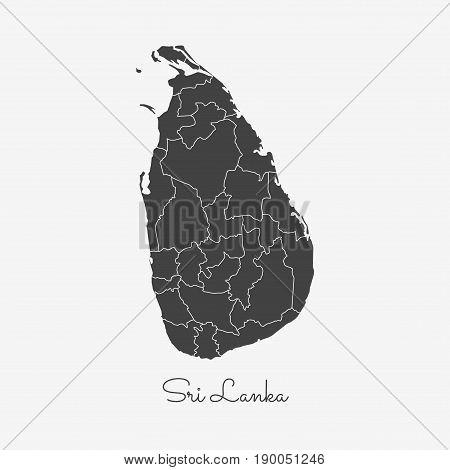 Sri Lanka Region Map: Grey Outline On White Background. Detailed Map Of Sri Lanka Regions. Vector Il