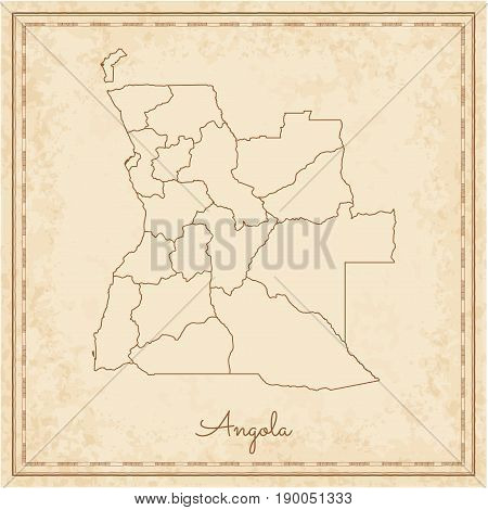Angola Region Map: Stilyzed Old Pirate Parchment Imitation. Detailed Map Of Angola Regions. Vector I