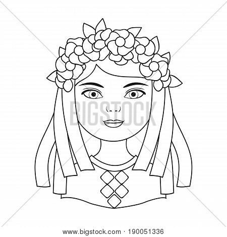 Ukrainian.Human race single icon in outline style vector symbol stock illustration .
