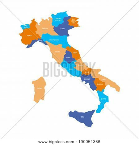 Map of Italy divided into 20 administrative regions in four colors. White labels. Simple flat vector illustration.