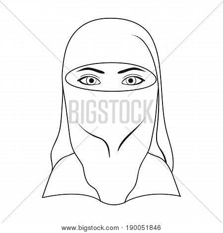 A woman from the Middle East.Human race single icon in outline style vector symbol stock illustration .
