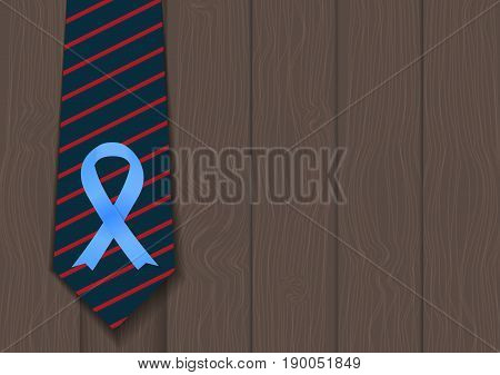 Blue Ribbon Symbol of World Prostate Cancer Awareness Day Concept. Men Healthcare Concept. Vector Illustration EPS10