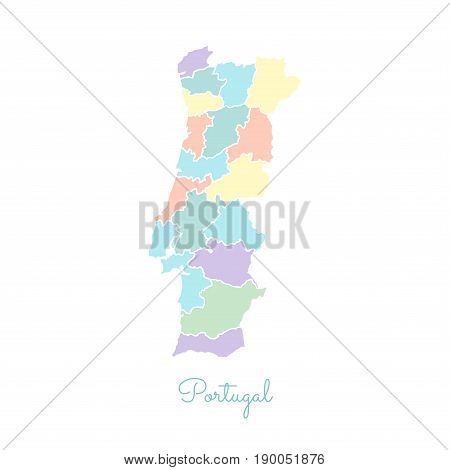 Portugal Region Map: Colorful With White Outline. Detailed Map Of Portugal Regions. Vector Illustrat