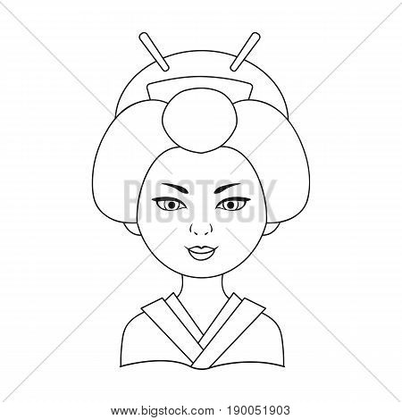 Japanese.Human race single icon in outline style vector symbol stock illustration .