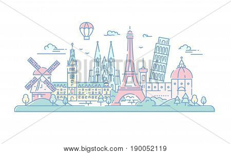 European countries - modern vector line travel illustration. Destination scenics for postcard, banner, leaflet. . World famous landmarks - Eiffel tower, the tower of Pisa, Florence cathedral