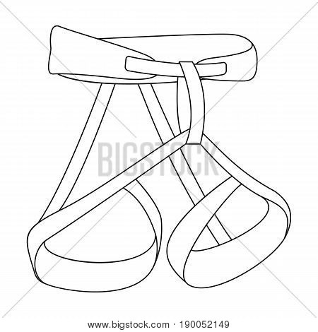 Climbing strapping, insurance.Mountaineering single icon in outline style vector symbol stock illustration .