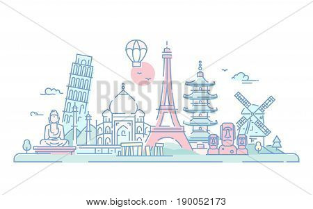 Countries - modern vector line travel illustration. Discover India, Japan, France, Italy, Netherlands. World famous landmarks - Eiffel tower, tower of Pisa, buddha monument, torii, Taj mahal