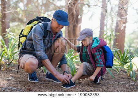 Mature father tying sports shoelace for son in forest