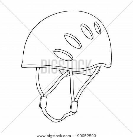 Plastic helmet climber.Mountaineering single icon in outline style vector symbol stock illustration .