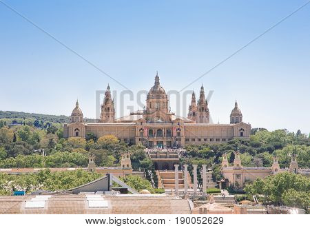 View of the Palau Nacional in Barcelona