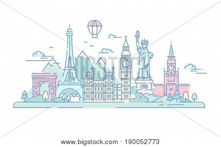Countries - modern vector line travel illustration. Discover Russia, England, USA, France. World famous landmarks - statue of liberty, kremlin, tower of london