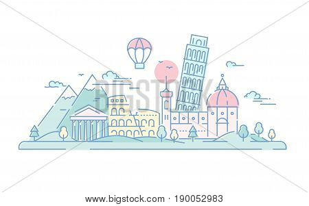 Italy - modern vector line travel illustration. Discover Rome. World famous landmarks - tower of Pisa, coliseum, temple, Florence cathedral, mountain