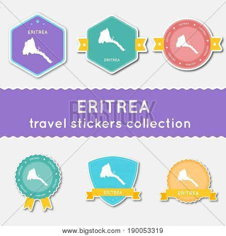 Eritrea Travel Stickers Collection. Big Set Of Stickers With Us State Map And Name. Flat Material St