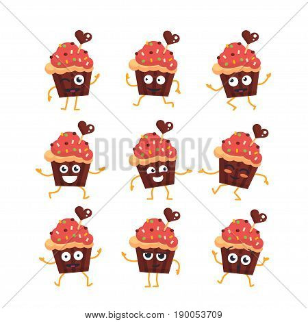 Cupcake Cartoon Character - modern vector set of mascot illustrations - dancing, smiling, having a good time. Emoticons, happiness, emotions, surprise, blinking,