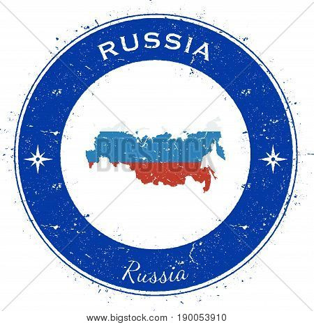 Russian Federation Circular Patriotic Badge. Grunge Rubber Stamp With National Flag, Map And The Rus