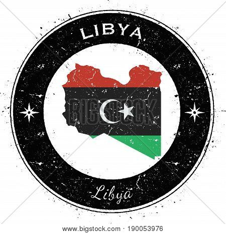 Libya Circular Patriotic Badge. Grunge Rubber Stamp With National Flag, Map And The Libya Written Al