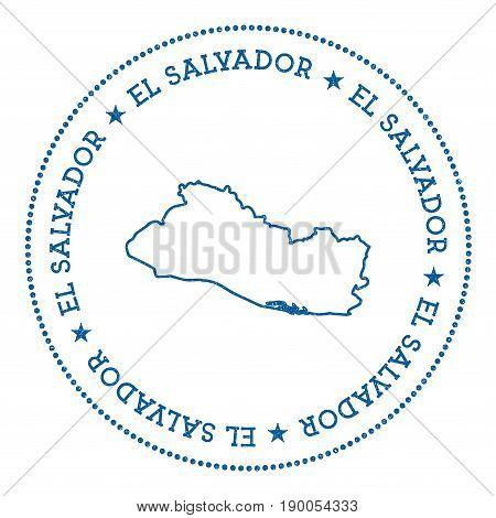 El Salvador Vector Map Sticker. Hipster And Retro Style Badge With El Salvador Map. Minimalistic Ins