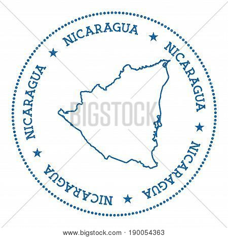 Nicaragua Vector Map Sticker. Hipster And Retro Style Badge With Nicaragua Map. Minimalistic Insigni