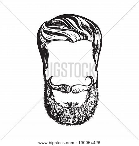 Hand drawn hipster hairstyle, beard and mustache, sketch style vector illustration isolated on white background. Hand drawing of hipster hair, beard and whiskers, logo design