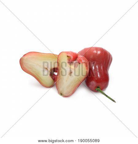 Tropical Fruit ; Fresh Roseapple Isolated On White Background
