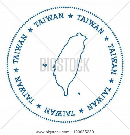 Taiwan, Republic Of China Vector Map Sticker. Hipster And Retro Style Badge With Taiwan, Republic Of