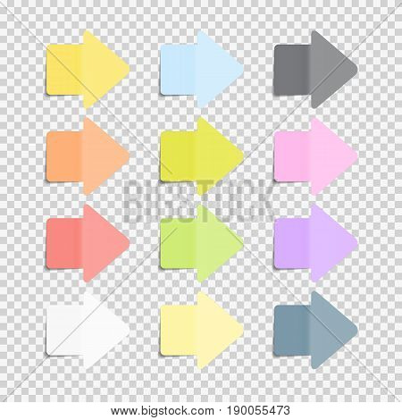 Sticky Office Paper Sheets Notes, Arrow Sign Pack Collection Set with Shadow Isolated on Transparent Background Vector Illustration EPS10