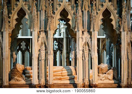 Gloucester United Kingdom - June 8 2013: Close-up view of tomb of King Edward II inside Gloucester Cathedral