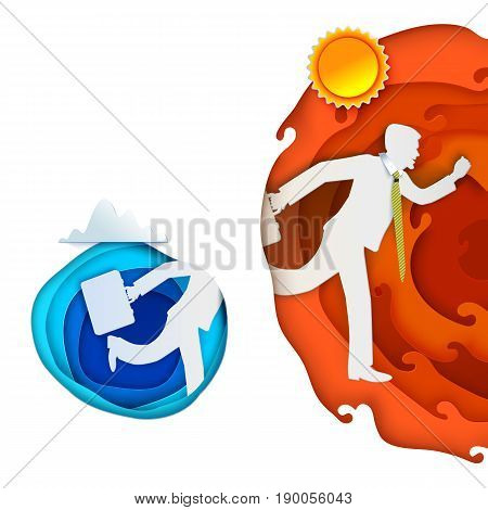 Man run away from blue paper cut circle and going in to hot orange layers. Paper art carving banner with sun, cloud, paper layers. Vector illustration. Paper cut concept for business or summer design