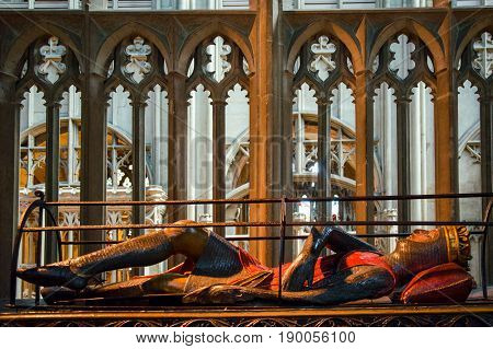 Gloucester United Kingdom - June 8 2013: Indoors view of Tomb of Robert Duke of Normandy in Gloucester Cathedral Church of St Peter and the Holy and Indivisible Trinity