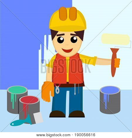 Painter Coloring Wall By Paintroller, People Occupations, Profession, Worker, Job Duty