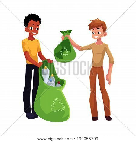 Two men collect plastic bottles into garbage bags, waste recycling concept, cartoon vector illustration isolated on white background. Adult men, black and Caucasian, collect plastic bottle garbage
