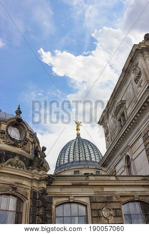 Cupola of the Albertinum and beautiful sky. Museum of Modern Art. Dresden, Germany