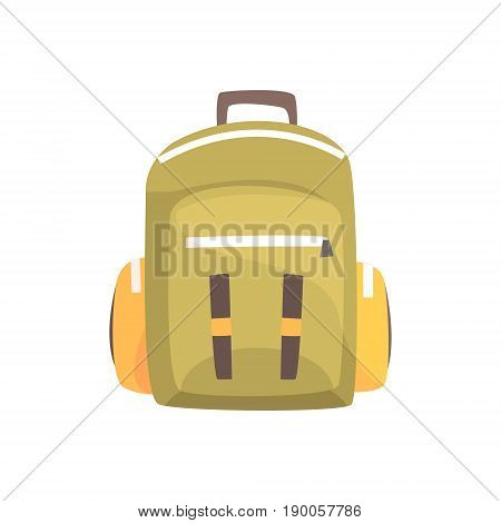 Khaki backpack, classic styled rucksack vector Illustration isolated on a white background