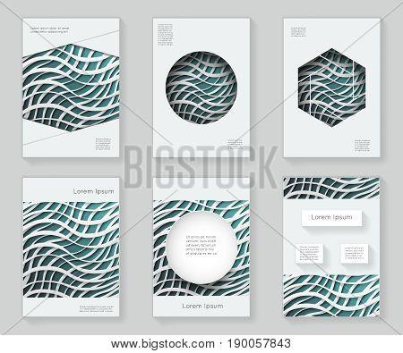 Paper waves over 3d design template colorful abstract design decorative pattern frame ornament book brochure booklet background vector illustration