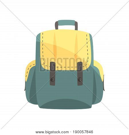 Colorful backpack, classic styled rucksack vector Illustration isolated on a white background