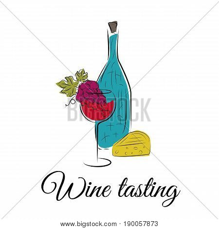 Wine concept for winery products, harvest, wine list, wine tasting menu and poster design. Bottle, wine glass, grape and cheese.